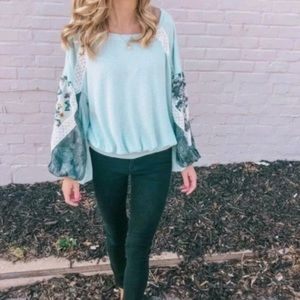 FREE PEOPLE Floral Print Sleeve Casual Clash Top